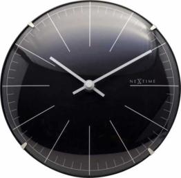 NeXtime Kleine Wanduhr Tischuhr Big Stripe Mini Dome, lautlos, rund, schwarz, ø 20 cm - 1
