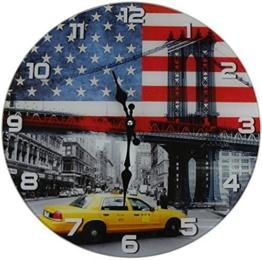 Out of the Blue Glas Uhr Amerika Flagge & New York Taxi Durchmesser 38 cm, Wanduhr im Vintage Look mit yellow cab Motiv, ausgefallenes Geschenk für USA und Retro Fans - 1