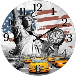 Out of the Blue Glas Wanduhr New York USA Flagge Yellow Cabs 38 cm - 1
