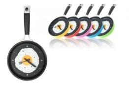 """Pfannenuhr Pfannen Uhr mit Spiegelei Wanduhr Küchenuhr""""Pan Wall Clock"""" in Gelb - 1"""