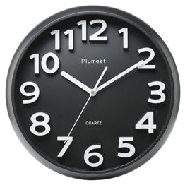 Plumeet 33 cm Große Wanduhr, Nicht tickende Stille Quarz Dekorative Uhren, Moderner Stil Gut für Wohnküche Wohnzimmer Schlafzimmer Büro, Große 3D-Nummer Anzeige, batteriebetrieben (Schwarz) - 1