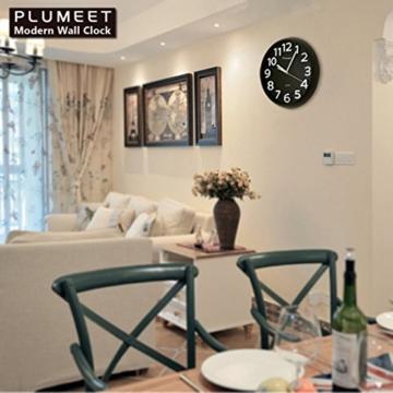 Plumeet 33 cm Große Wanduhr, Nicht tickende Stille Quarz Dekorative Uhren,  Moderner Stil Gut für Wohnküche Wohnzimmer Schlafzimmer Büro, Große ...