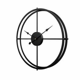 Schlichte Wanduhr, Uhr Wand 40CM Retro Dekorative Geräuscharm Lautlos Wanduhr für Wohnzimmer, Schwarz - 1