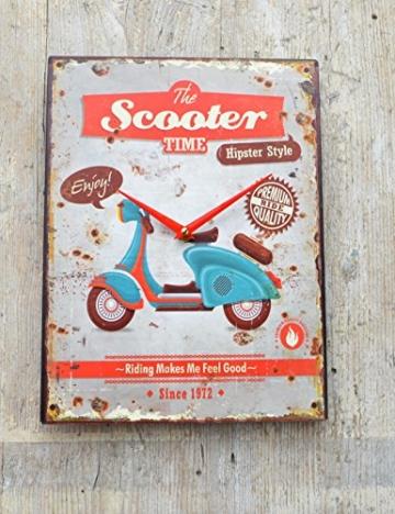 Schmiedegarten Wanduhr The Scooter Time aus Metall im Vintage Shabby Stil - Blechschild Hängeuhr - Vespa Roller - 2