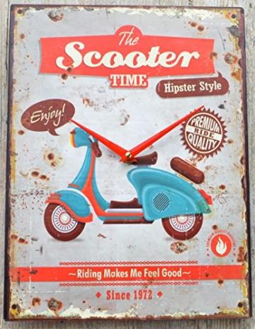 Schmiedegarten Wanduhr The Scooter Time aus Metall im Vintage Shabby Stil - Blechschild Hängeuhr - Vespa Roller - 1