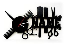 Spezial Holz Wand-Uhr Friseur-Geschenk Schere lustige witzige Haar-Schneide Frauen-Geschenke mit Namen individuell für Freund-in Friseure Friseur-Salon Haar-Studio Stylist-en Zubehör personalisiert - 1