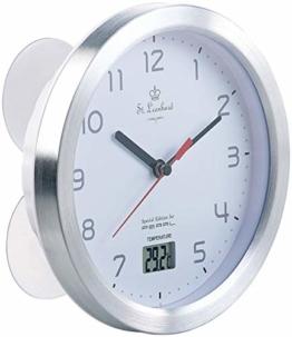 St. Leonhard Baduhr: Badezimmer-Wanduhr mit LCD-Thermometer und Aluminium-Rahmen, IPX4 (Wanduhr wasserdicht) - 1