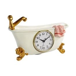 Tri Badezimmer-Uhr, Hängeuhr funktionsfähige Dekorationsuhr Badewannen-Optik Kunststein 23 x 5 x 16,5 cm - 1