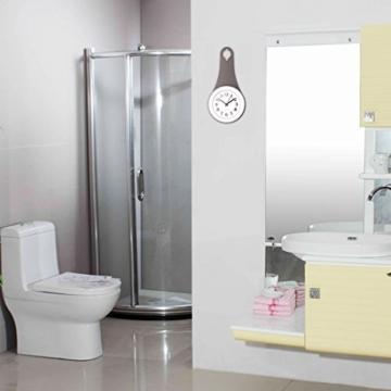 TXXCI Badezimmer wasserdicht Wanduhr Uhr Saugnäpfe Nicht-Tickende  Badezimmeruhr – Grau