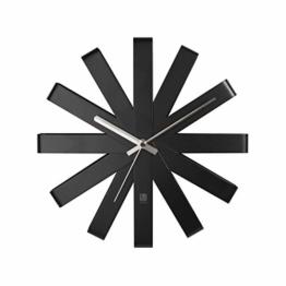 Umbra 118070-040 Ribbon Moderne Gebogene Wand-/Designuhr, schwarz matt - 1