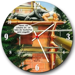 Veit's originelle, lustige Cartoon Wanduhr für Beruf Bau Dachdecker Handwerker - Ich Habe die Dachlatten Nicht eingeölt! - 1