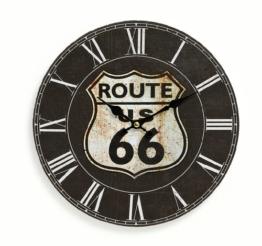 Wanduhr aus Holz 29cm - Motiv: Amerika USA Route 66 schwarz - Küchenuhr Uhr römische Ziffern - Quartzuhr - 1
