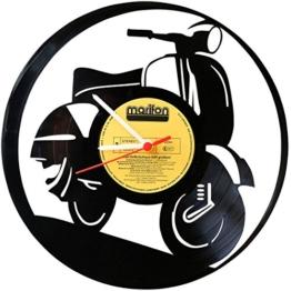 Wanduhr aus Vinyl Schallplattenuhr Vespa Upcycling Design Uhr Wand-Deko Vintage-Uhr Wand-Dekoration Retro-Uhr Made in Germany - 1