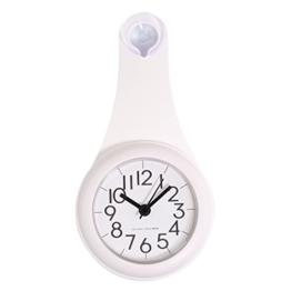 Wanduhr Badezimmer, Vicoki Wasserdicht Wanduhr mit Saugnapf Wanduhr ohne Tickgeräusche Lautlosem Sweep Uhrwerk, 11×21,6×4cm (Weiß) - 1