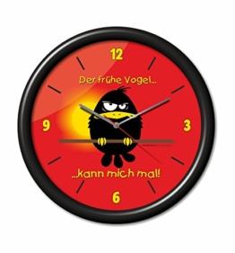 "Wanduhr: ""Der frühe Vogel kann mich mal"" original RAHMENLOS® Design - 1"