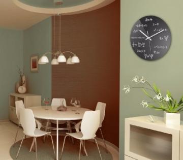 wanduhr mit motiv - mathe - aus echt-glas   runde küchen