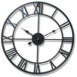 Wanduhr Vintage Lautlos, OviTop Wanduhr Groß 50cm Wanduhr Metall Dekorative Wanduhr ohne Tickgeräusche für küche Wohn- und Schlafzimmer - Schwarz - 1