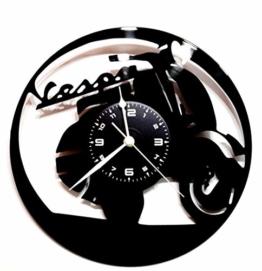 Wanduhr Vinyl Schallplatte LP 33U Geschenk Vintage Handmade Instant Karma–Motorrad Vespa - 1
