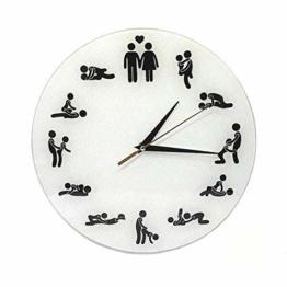 YYMCD Sexuelle Positionen Wanduhren, Humor Wandkunst dekorative Wohnzimmer Uhr Bachelorette Geschenk - 1