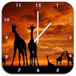 Afrika Giraffen im Sonnenuntergang, Wanduhr Quadratisch Durchmesser 48cm mit weißen spitzen Zeigern und Ziffernblatt, Dekoartikel, Designuhr, Aluverbund sehr schön für Wohnzimmer, Kinderzimmer, Arbeitszimmer - 1