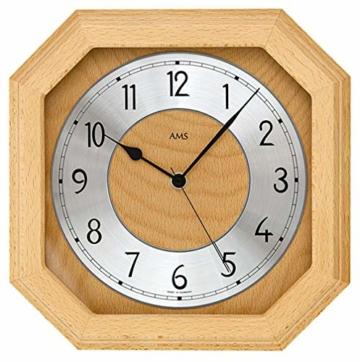 AMS F5864/18 Funk-Wanduhr, Holz, Mehrfarbig, 35 x 35 x 12 cm - 1