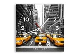 ARTTOR Wanduhr - Quadrat - Glasuhr - Breite: 30cm, Höhe: 30cm - Bildnummer 2695 - Schleichendes Uhrwerk - lautlos - zum Aufhängen bereit - Kunstdruck - C4AC30x30-2695 - 1