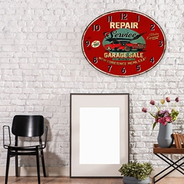 BHP Design Quartz Wand Uhr Oldtimer Aufdruck Küche Zeit Anzeige Metall rostfärbig B991756 - 2