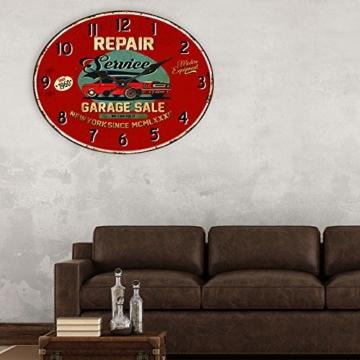 BHP Design Quartz Wand Uhr Oldtimer Aufdruck Küche Zeit Anzeige Metall rostfärbig B991756 - 3