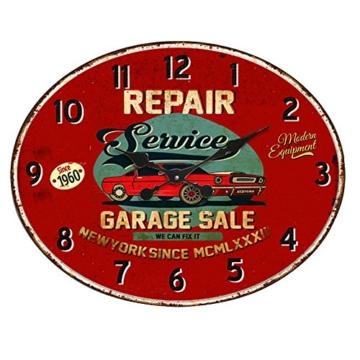 BHP Design Quartz Wand Uhr Oldtimer Aufdruck Küche Zeit Anzeige Metall rostfärbig B991756 - 1