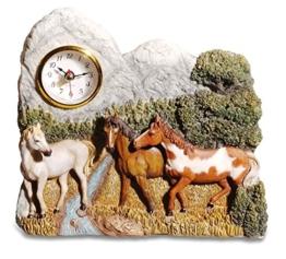 bricabreizh Wanduhr 3Pferde Hat der Fluß 19cm - 1