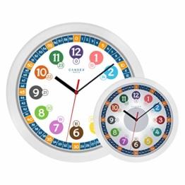 Cander Berlin MNU 5130 Kinderwanduhr (Ø) 30,5 cm Kinder Wanduhr mit lautlosem Uhrwerk und 5-Stufen-Zifferblattbeleuchtung (dimmbar) - Ablesen der Uhrzeit Lernen - 1