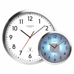 Cander Berlin MNU 5230 Weiße Funkwanduhr aus Aluminium mit lautlosem Uhrwerk, Lichtsensor und 5-Stufen-Zifferblattbeleuchtung (dimmbar) - 30,5 cm 12 Zoll (Ø) - kein nerviges Ticken - 1