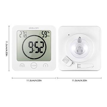 Decdeal Bad Wanduhr Dusche Uhr Wasserdicht mit LCD Display Luftfeuchtigkeit Temperatur, Countdown-Timer, Berühren Tastensteuerung Wandbehang Freistehend - 2