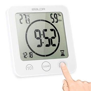 Decdeal Bad Wanduhr Dusche Uhr Wasserdicht mit LCD Display Luftfeuchtigkeit Temperatur, Countdown-Timer, Berühren Tastensteuerung Wandbehang Freistehend - 4