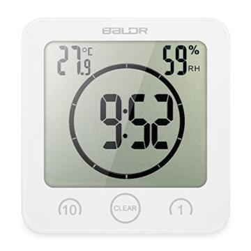 Decdeal Bad Wanduhr Dusche Uhr Wasserdicht mit LCD Display Luftfeuchtigkeit Temperatur, Countdown-Timer, Berühren Tastensteuerung Wandbehang Freistehend - 1