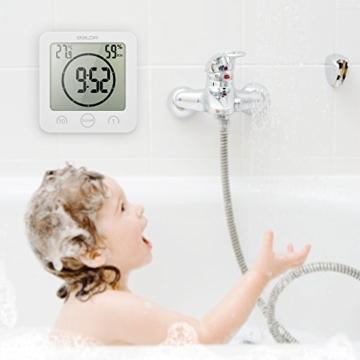 Decdeal Bad Wanduhr Dusche Uhr Wasserdicht mit LCD Display Luftfeuchtigkeit Temperatur, Countdown-Timer, Berühren Tastensteuerung Wandbehang Freistehend - 5