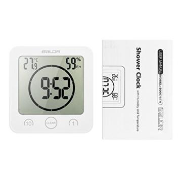 Decdeal Bad Wanduhr Dusche Uhr Wasserdicht mit LCD Display Luftfeuchtigkeit Temperatur, Countdown-Timer, Berühren Tastensteuerung Wandbehang Freistehend - 7