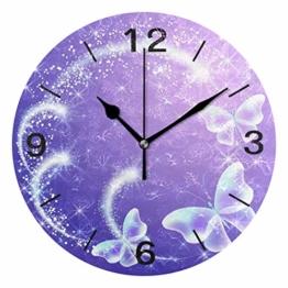 Domoko Home Decor Schmetterling Feuerwerk Rund Lila Acryl Wanduhr Geräuschlos Silent Uhr Kunst für Wohnzimmer Küche Schlafzimmer - 1