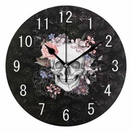 Domoko Home Decor Sugar Skull mit Rose Blume Rund Acryl Wanduhr Geräuschlos Silent Uhr Kunst für Wohnzimmer Küche Schlafzimmer - 1