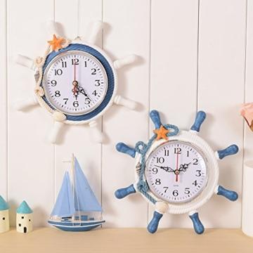 Doolland Wanduhr mediterranen Stil Anker Uhr Strand Meer Thema nautische Schiff Lenkrad Clock Rudder Decor Wandbehang wanduhr maritim Schiff Anker Dekoration (Farbe zufällig) - 2
