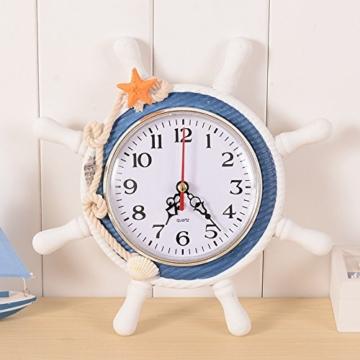 Doolland Wanduhr mediterranen Stil Anker Uhr Strand Meer Thema nautische Schiff Lenkrad Clock Rudder Decor Wandbehang wanduhr maritim Schiff Anker Dekoration (Farbe zufällig) - 1