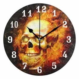 DOSHINE Wanduhr, brennender Totenkopf, leise, Nicht tickende Uhr, Schlafzimmer, Wohnzimmer, Küche, Heimdekoration - 1