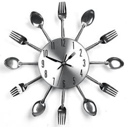 Edelstahl Küchenutensilien Uhr für Küche Déco Indoor und Outdoor, Küche Besteck Silber Wanduhr mit getönten Gabeln, Löffel, Spatel - 1