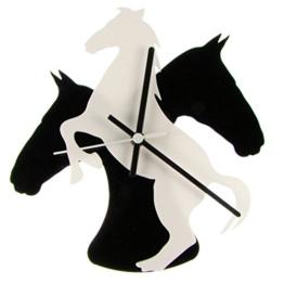 euphyllia-tempus Pferd Thema Wanduhr weiß/schwarz 28cm (e9533whtb) - 1