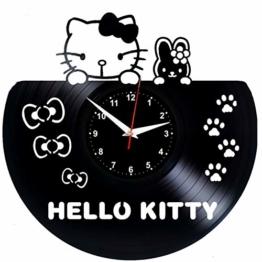 EVEVO Hello Kitty Wanduhr Vinyl Schallplatte Retro-Uhr groß Uhren Style Raum Home Dekorationen Tolles Geschenk Wanduhr Hello Kitty - 1