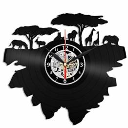 EVEVO Savana Afrika Wanduhr Vinyl Schallplatte Retro-Uhr groß Uhren Style Raum Home Dekorationen Tolles Geschenk Wanduhr Savana Afrika - 1