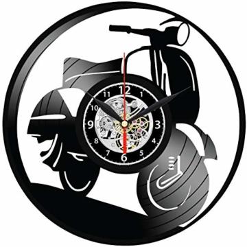 EVEVO Vespa Wanduhr Vinyl Schallplatte Retro-Uhr groß Uhren Style Raum Home Dekorationen Tolles Geschenk Wanduhr Vespa - 2