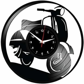 EVEVO Vespa Wanduhr Vinyl Schallplatte Retro-Uhr groß Uhren Style Raum Home Dekorationen Tolles Geschenk Wanduhr Vespa - 3