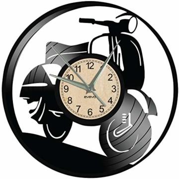 EVEVO Vespa Wanduhr Vinyl Schallplatte Retro-Uhr groß Uhren Style Raum Home Dekorationen Tolles Geschenk Wanduhr Vespa - 4