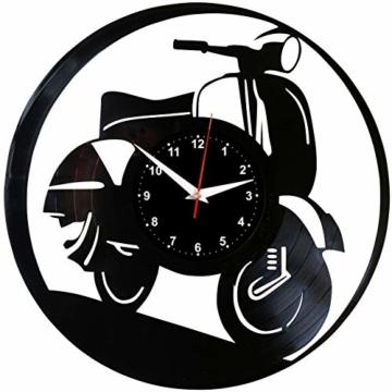 EVEVO Vespa Wanduhr Vinyl Schallplatte Retro-Uhr groß Uhren Style Raum Home Dekorationen Tolles Geschenk Wanduhr Vespa - 1